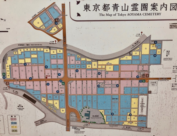 Map of Aoyama Cemetery Tokyo.