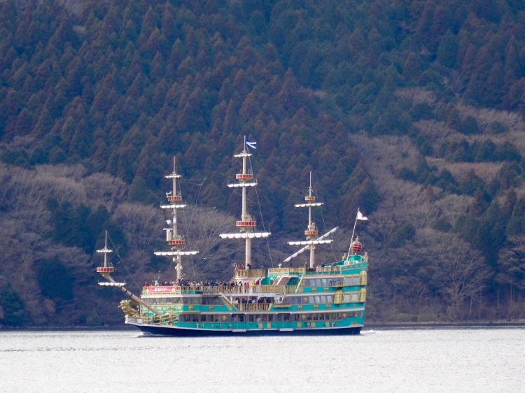 Traditional boat on Lake Ashi Japan.