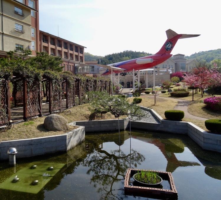 Landscaped garden at Daegu Gyeongbuk English Village South Korea.