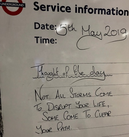 Thought of the day at Tooting Bec Station London.