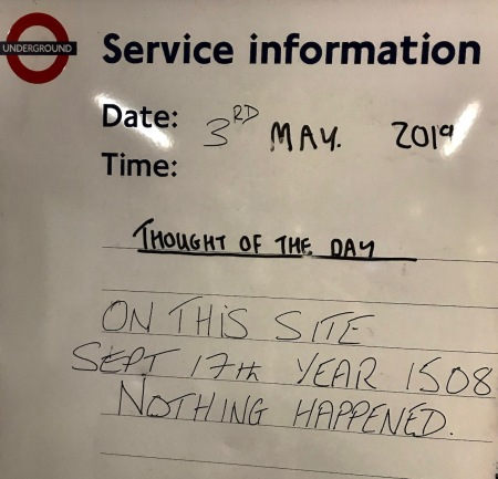 Thought of the day from Tooting Bec Station London.