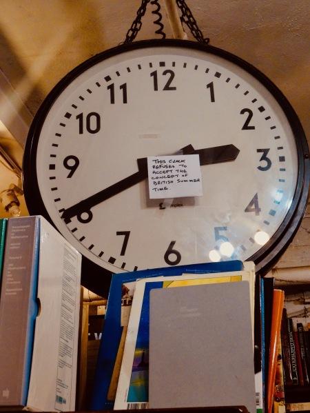 Antique clock Black Gull Bookshop and bindery Camden Town.