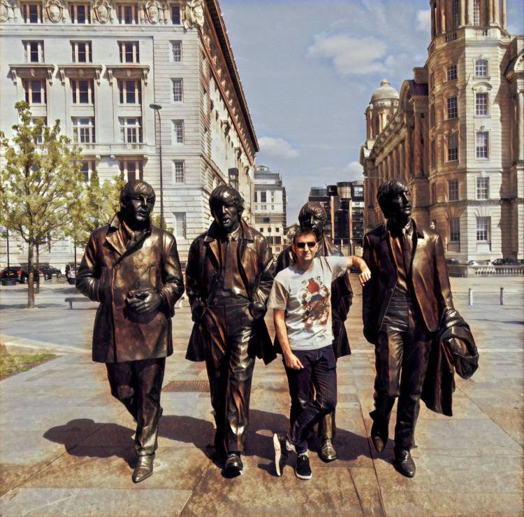 Beatles statues Pier Head Liverpool Waterfront.