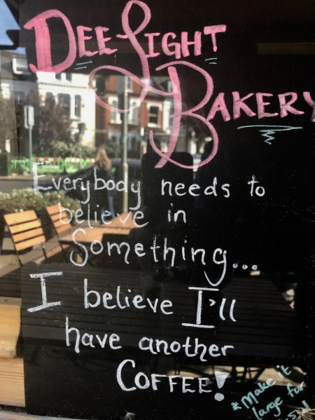 Coffee at Dee Light Bakery Tooting Bec London.