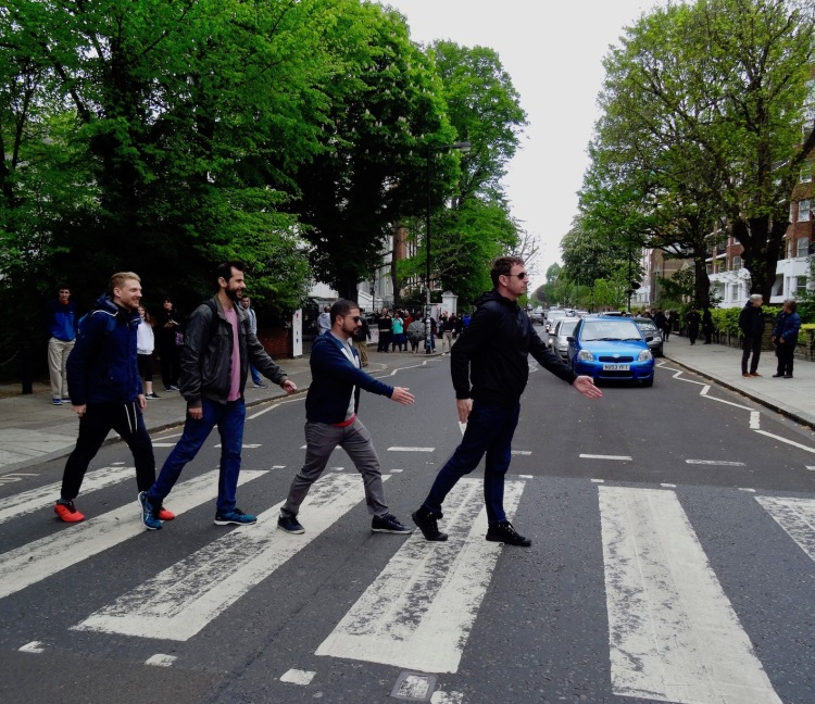 Doing the Beatles Abbey Road Walk London.