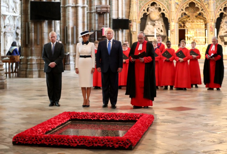 Donald Trump and Melania at the Tomb of the Unknown Warrior Westminster Abbey London.