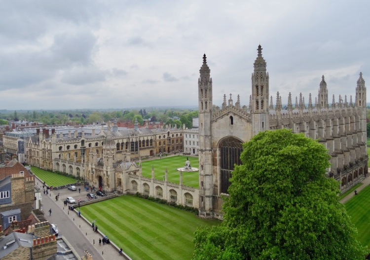 King's College Chapel from the top of Great St. Mary's Church Cambridge.