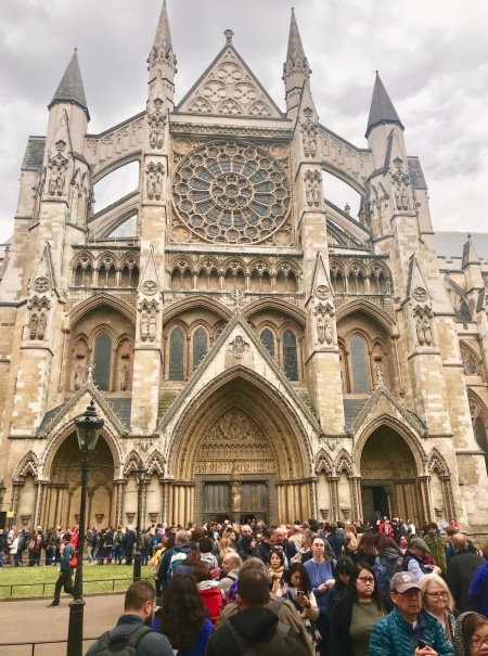 Long queue at Westminster Abbey London.