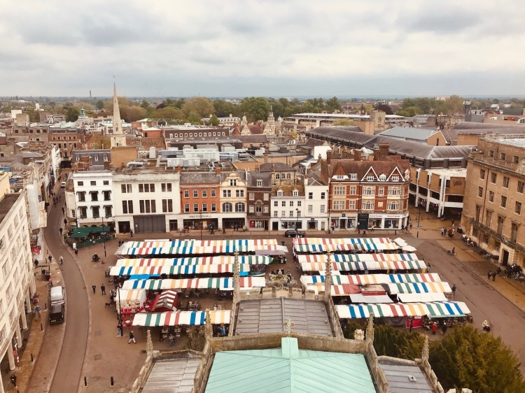 Market Square from the top of Great St. Mary's Church Cambridge.