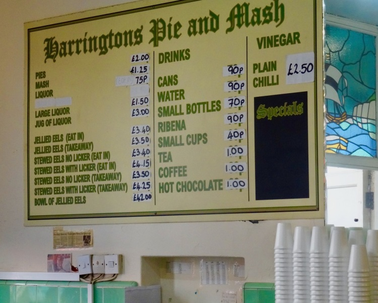 Menu board Harrington's Pie And Mash Tooting Bec London.