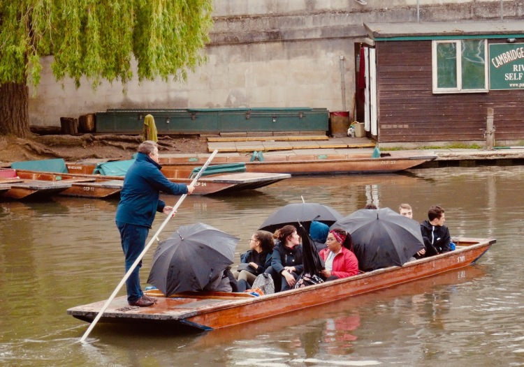 Punting in Cambridge on a rainy day.