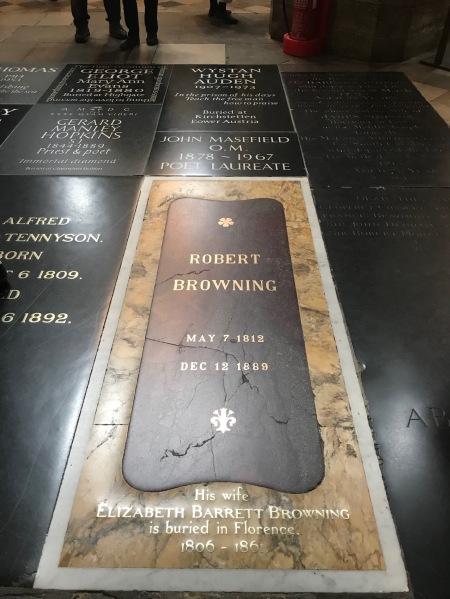 Robert Browning grave Poet's Corner Westminster Abbey.