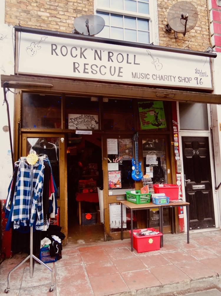 Rock 'n' Roll Rescue Music Charity Shop Camden Town London.