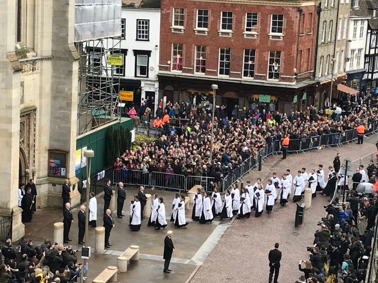 Stephen Hawking funeral Great St. Mary's Church Cambridge March 2018.