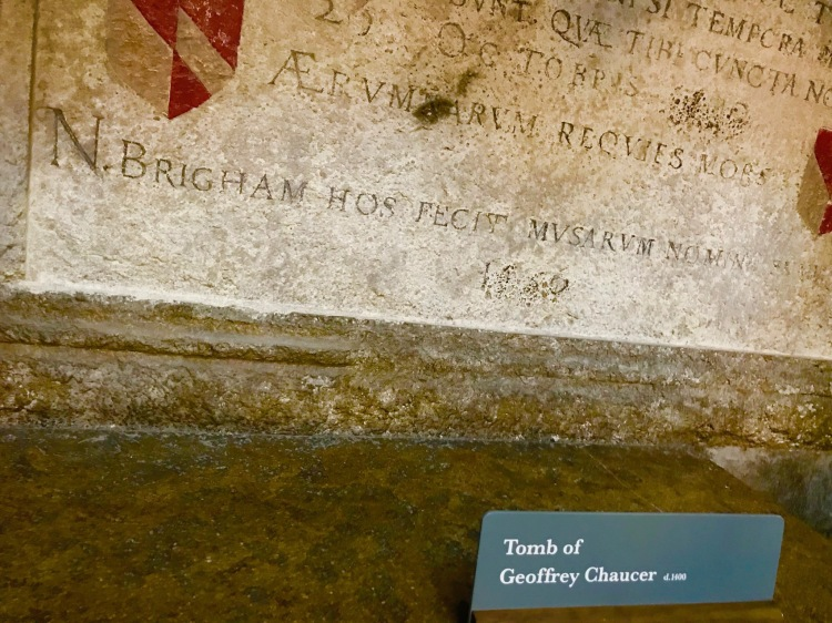 Tomb of Geoffrey Chaucer Poet's Corner Westminster Abbey.