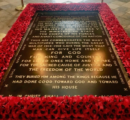 Tomb of the Unknown Warrior Westminster Abbey London.