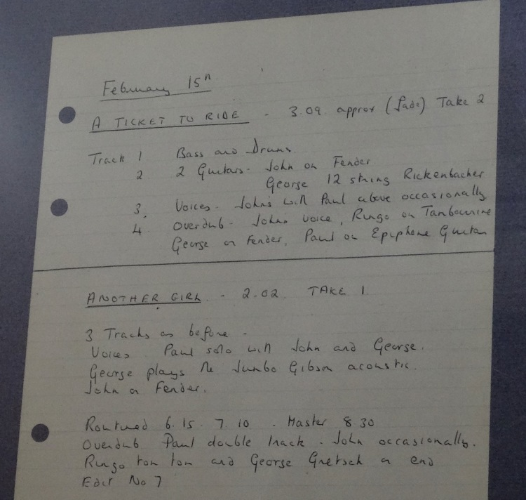 George Martin's handwritten Abbey Road studio notes The Beatles Story Liverpool.
