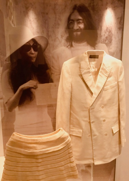 John Lennon and Yoko Ono's wedding outfits Double Fantasy Exhibition Museum of Liverpool.