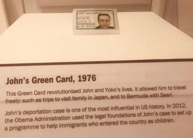 John Lennon's 1976 Green Card Double Fantasy Exhibition Museum of Liverpool.