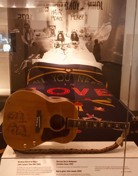Montreal Bed-In bedspread Double Fantasy John and Yoko Exhibition Museum of Liverpool.