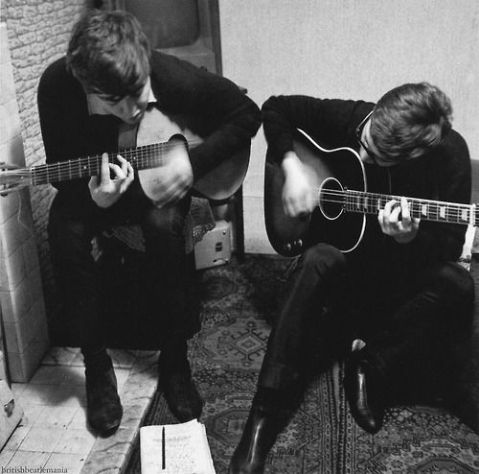 Paul McCartney and John Lennon at 20 Forthlin Road working on I Saw Her Standing There.