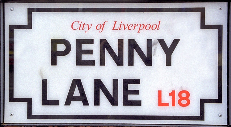 Penny Lane sign Liverpool The Beatles in Liverpool.