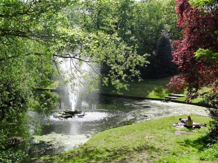 Pond fountain Sefton Park Liverpool.