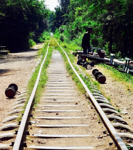 Ride The Battambang Bamboo Train Cambodia.