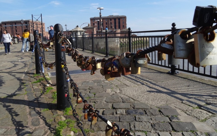 The love locks on The Liverpool Waterfront.