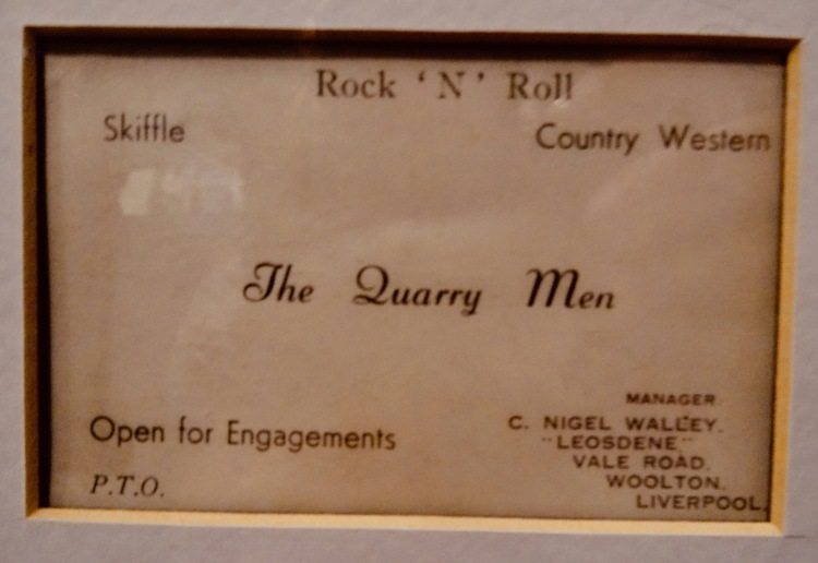 The Quarry Men business card The Beatles Story Liverpool.