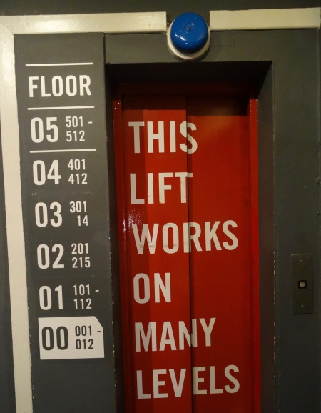 This lift works on many levels Hatters Hostel Liverpool.