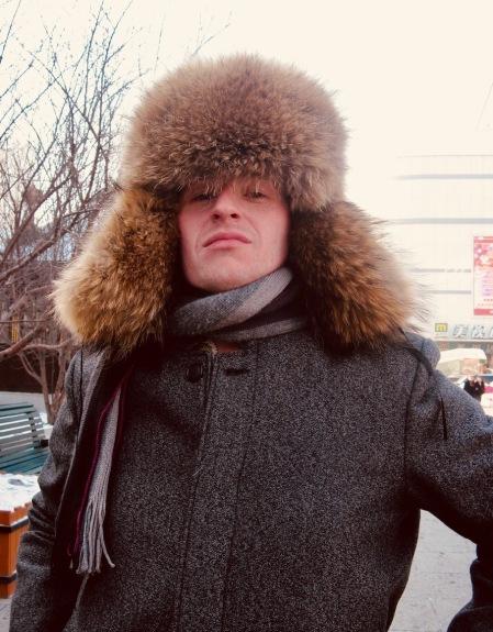 Ushanka hat stall outside Saint Sophia Cathedral Harbin China.