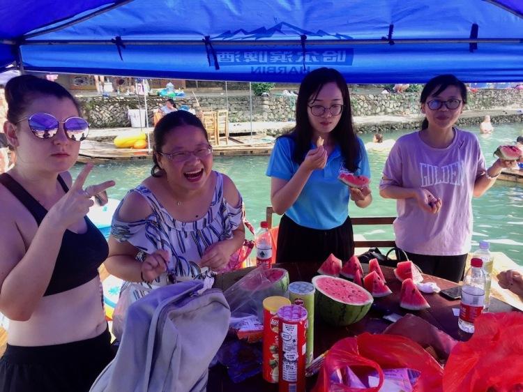 Boating on the Xin Yang River Zhejiang Province China.