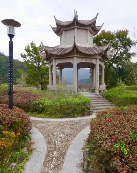 Garden overlooking Nanpuxi Reservoir Taishun County China.