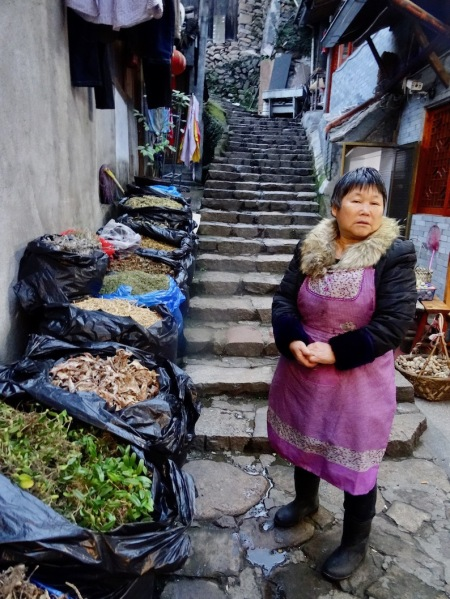 Vegetable and herb market Lingshang Restaurant Village Yongjia County China.